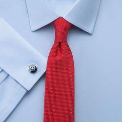 Мужская рубашка под запонки синяя Charles Tyrwhitt сильно приталенная Extra Slim Fit не мнущаяся Non Iron (RG064Sky)