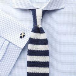 Мужская рубашка под запонки мелкую синюю клетку Charles Tyrwhitt не мнущаяся Non Iron сильно приталенная Extra Slim Fit (RG078SKY)