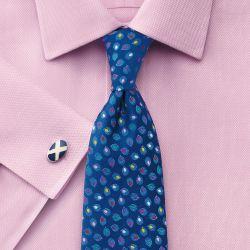 Мужская рубашка под запонки розовая Charles Tyrwhitt не мнущаяся Non Iron сильно приталенная Extra Slim Fit (RJ052PNK)