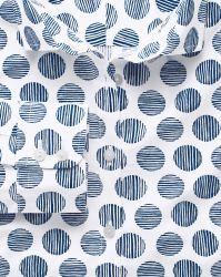 Женская рубашка белая в горошек цвета морской волны Charles Tyrwhitt приталенная Fitted (WT034WNV)