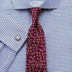 Мужская рубашка под запонки белая в синюю клетку Charles Tyrwhitt не мнущаяся Non Iron приталенная Slim Fit (FN455NAV)